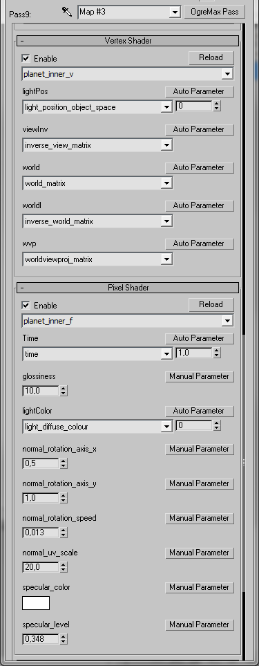 Diffuse shader settings